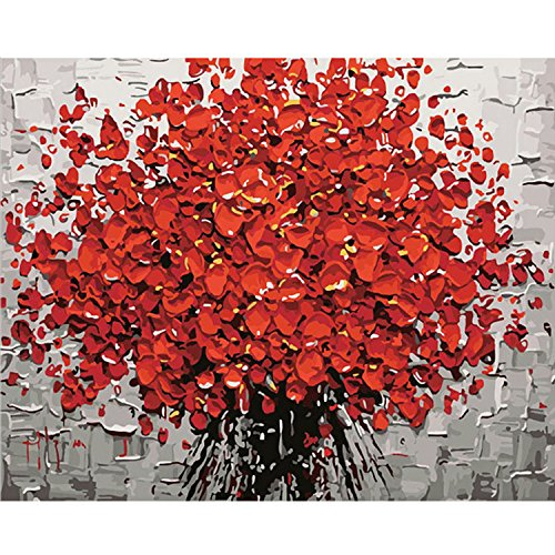 Gosear Pintura por números Red Plum Blossom - DIY Pintura al óleo Lienzo por Números con Pintura acrílica para el hogar Salón Decoraciones de la Imagen de la Oficina (40 x 50 cm/15.75 x 19.69