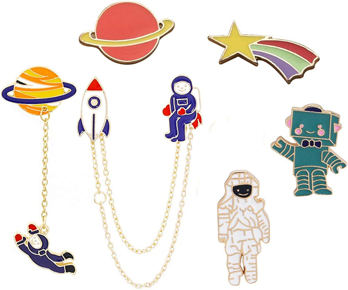 FLYPARTY 6 Pcs Cute Enamel Lapel Pins Sets Cartoon Animal Plant Brooches Novelty Pin Badges Gift for Women Kids Clothing Bags Backpacks Jackets Hat DIY