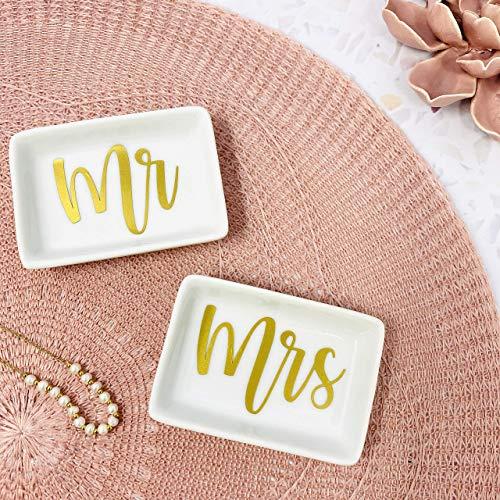 Schmuckschale Ringschälchen Set Mr Mrs verschiedene Farben Keramik