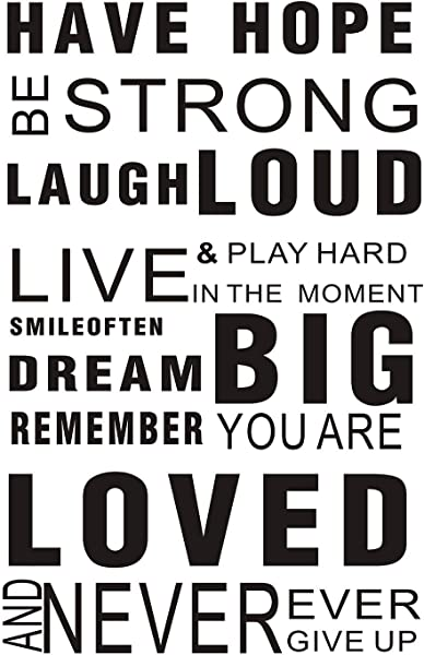 LUCKKYY Inspirational Wall Decals Quotes Word Wall Sticker Quotes Motivational Wall Decal Family Inspirational Wall Art Sticker Hope Black
