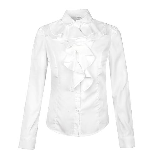 ba4c5d8382115 Betusline Women s Elegant Long Sleeve Ruffle Collar OL Tops Blouse T Shirt