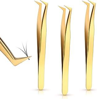 3 Pieces Volume Tweezers Eyelash Extension Tweezers Curved Tip False Lash Tweezers Stainless Steel Precision Tweezers for ...