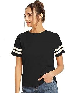 Ytrick Women's Black Casual Cotton Tshirt