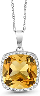10K White Gold Yellow Citrine and White Diamond Pendant Necklace For Women, 6.09 Ct Cushion Cut with 18 Inch Chain