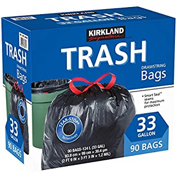 Kirkland Signature Carton is 100% recyclable 33 Gallon Black Drawstring Trash Bag 90 Count ,Tear-Stop Technology