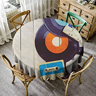 ScottDecor Printed Tablecloth Indie Gramophone Records and Old Audio Cassettes on Wooden Table Nostalgia Music Blue Orange Black Reusable Round Tablecloth Diameter 50