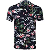 AIDEAONE Hombre Flamingo Camisa Hawaiana Manga Corta Camisas Playa Verano Negro