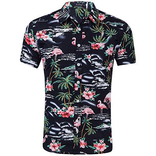 AIDEAONE Herren Palme Kurzarm Sommer Urlaub Hemd Hawaiian Urlaub Schwarz Hemd