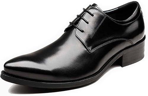 Fulinken hombres Cuero Lace Up Pointy Toe Zapaños de Oxford Casual Zapaños de Trabaño Vestido de Negocios
