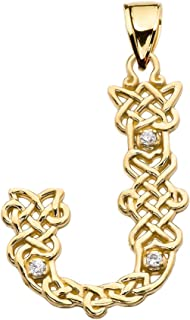 14k J Initial in Celtic Knot Pattern Yellow Gold Diamond Pendant Necklace