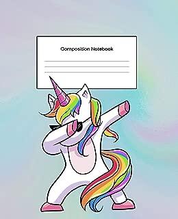 Composition Notebook: Composition Notebook Wide Ruled Blank Lined Notebook Dabbing Unicorn Rainbow Pastel Background