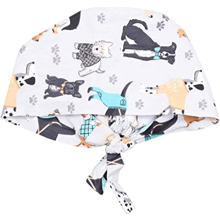 Random Color PRETYZOOM 6pcs Unisex Surgical Hat Printed Scrub Cap with Adjustable Sweatband Cotton Medical Hat for Doctor Nurse