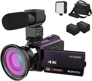 كاميرا الفيديو الرقمية Andoer 4K 1080P 48 ميجا بكسل واي فاي رؤية ليلية بالأشعة تحت الحمراء 16X تقريب رقمي مع عدسة ماكرو عريضة الزاوية 0.39X ، ميكروفون خارجي، ضوء فيديو LED، بطاريتان وحقيبة كاميرا