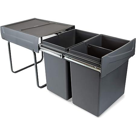 Cubo De Basura Extraíble Con Extracción Manual Para Mueble De Cocina Capacidad 14 14 Litros Amazon Es Hogar Y Cocina