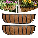 BERNIE ANSEL English Horse Trough Planters, 24-Inch Trough Planter with Coco Liner Trough and Mounting Hook Kit, Flat Iron Series Hanging Deck Railing Planter Boxes Window Box 2PCS