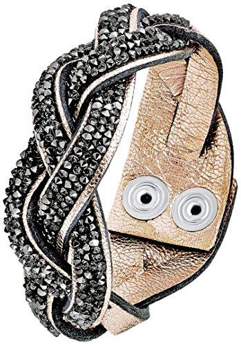 s.Oliver Damen-Armband Let's Celebrate Swarovski Rocks Messing Leder Kristall grau 18.5 cm - 515955