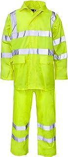 Hi Vis Viz Rainsuit 2 Piece Set High Visibility Hooded Puddle Rain Suit Jacket Trousers Waterproof PVC Workwear Rain Wear