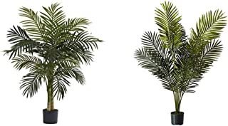 Nearly Natural 5357 4ft. Golden Cane Palm Tree,Green & 5ft. Paradise Palm Artificial Plant, 46x44x60, Green