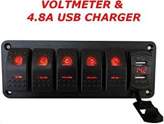 Switchtec 3 5 7 Gang Rocker Switch Aluminum Panel with 4.8 Amps Dual USB Rocker Style Fast Charger with Voltmeter, Red Backlit Led, Pre-Wired for Marine, Boat, Car, Truck(4.8A USB & 5 SWITCHES RED)