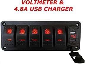 Switchtec 5 Gang Rocker Switch Aluminum Panel with 4.8 Amps Dual USB Rocker Style Fast Charger with Voltmeter, Red Backlit Led, Pre-Wired for Marine, Boat, Car, Truck(4.8A USB & 5 SWITCHES RED)