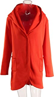 YYuzhongfenM Buckle Hooded Long-Sleeved Loose Cardigan Sweater Coat for Women (Color : Orange, Size : 4XL)