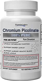 Superior Labs - Best Chromium Picolinate NonGMO - 500 mcg, 120 Vegetable Capsules Supports Healthy Glucose Levels – Reduce...