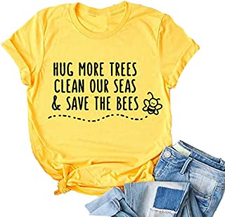 MAOGUYUN Hug More Trees Clean Our Seas Save The Bees Women Letter Printing Short Sleeve T Shirt