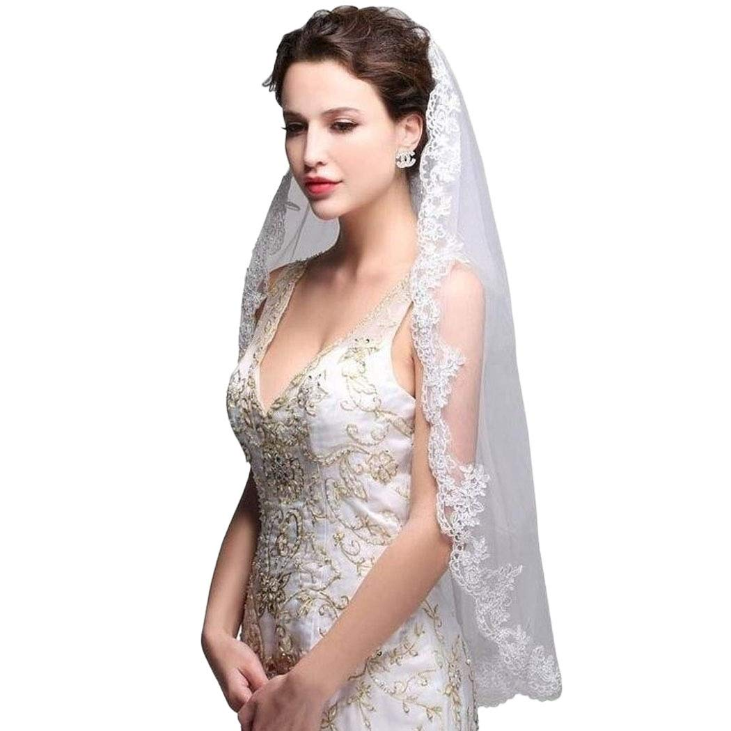 Brinote Appliqued Lace Bride Wedding Veil1 Tier Short Hip Length Bridal Veils with Comb Soft Tulle Embroidered Veil Hair Accessories for Brides (Ivory)