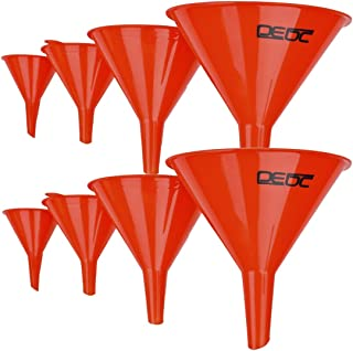 DEDC Gas Funnels Plastic Funnel 2 Set of 8 for Car Automotive Mini Small Large Red