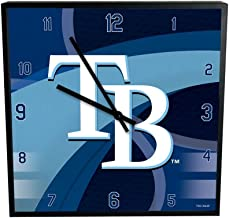 The Memory Company MLB Tampa Bay Rays Official Carbon Fiber Square Clock, Multicolor, One Size