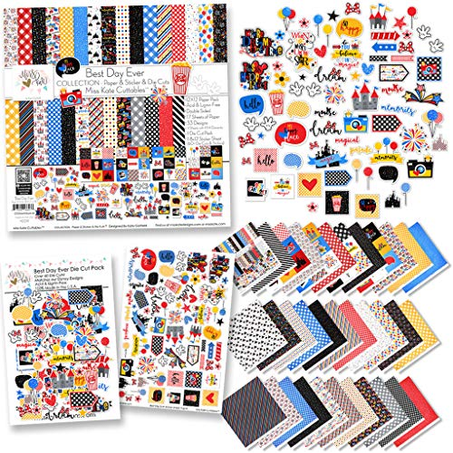 Collection - Best Day Ever - for Disneyland Walt Disney World - Paper & Stickers & Die Cuts -16 Double-Sided 12x12's w/33 Designs & 8X12 Sticker Sheet & 60+ Die Cuts -Scrapbook- by Miss Kate Cuttables