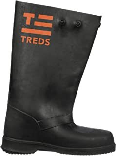 """TREDS Super Tough 17"""" Pull-On Stretch Rubber Overboots for Rain, Slush, Snow and Construction, Size Large"""