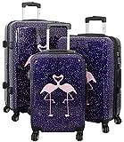 Trendyshop365 Hartschale Koffer-Set 3-teilig Kissing Flamingo Pink Trolley