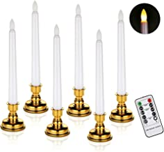 Window Candles Battery Operated Flameless Flickering Taper LED Candle Detachable Gold Base Remote Control (6 Candles + Base)