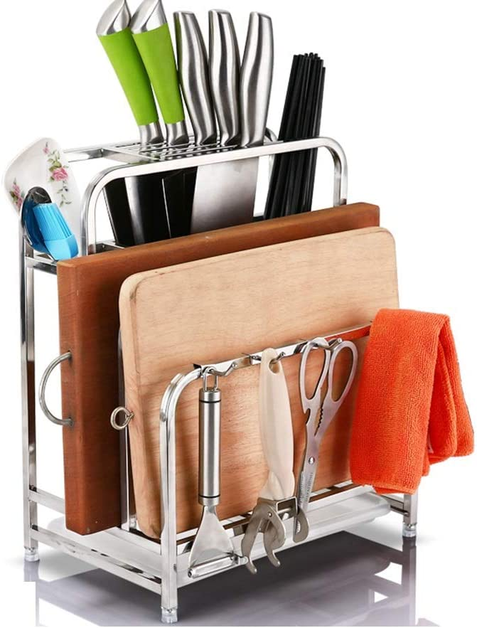 Virginia Beach Mall HUO Kitchen Knife Rack Shelf Large special price !! Home Multi-Function Stainless Steel