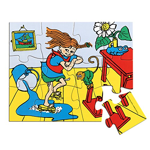 Micki & Friends 44378200 Pippi Langstrumpf Holzpuzzle 12 Teile - Holzspielzeug - Kinder klassisches Puzzle Holz - Kinderpuzzle ab 3 Jahren
