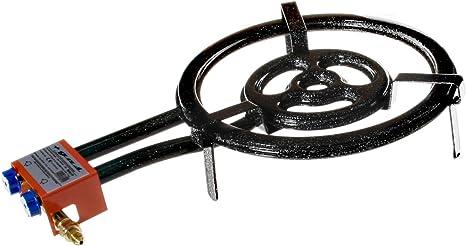 Garcima 76040 Hornillo paellero gas plano l-40 2 fuegos, Negro, 41x 65 x 12 cm