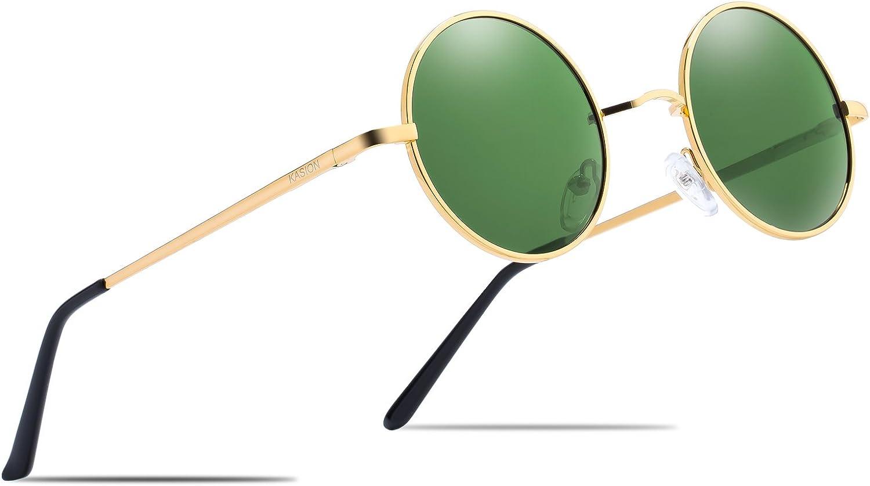 KASION Polarized Round Vintage John Lennon Sunglasses For Men Women Metal Glasses