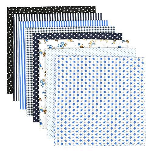 WOWOSS 8 piezas de tela de algodón impresa 50 x 50 cm, Tela Cuadrada con 8 Patrones Diferentes para Manualidades y Costura