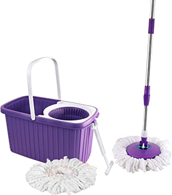 Cello Kleeno Hi Clean Spin Mop with 2 refill and 1 liquid dispenser (Violet)