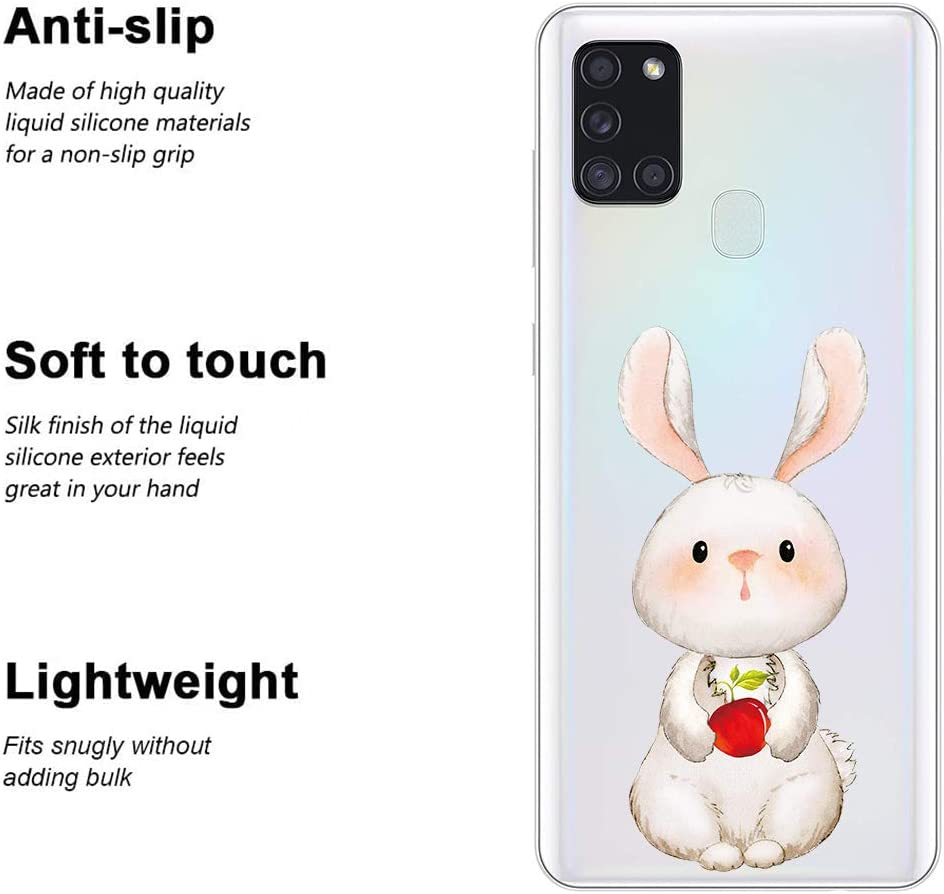 JMTALL for Samsung Galaxy A21S Phone Case Silicone Cover Clear Transparent Shockproof Cases Dinosaur Design Ultra Slim Soft Bumper Stylish Cute Pattern Girls Covers for Galaxy A21S