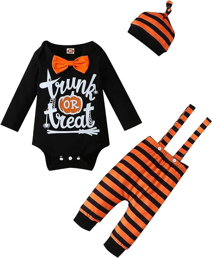 Infant Baby Boy Halloween Outfits Pumpkin Romper Striped Bib Pants Newborn Boy Clothes Set 3PC