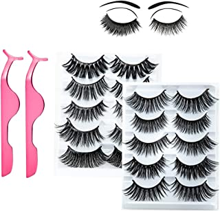 Neflyon 3D Mink Lashes Professional 10 Different Styles Pack,Thick Long Multipack Natural False Eyelash With Free Eyelashes Clip
