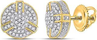 FB جواهر الذهب الأصفر 10kt رجل جولة الماس العنقودية أقراط 1/4 Cttw