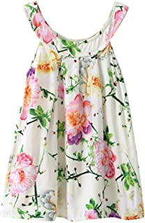 Summer Cute Kids Little Girl Casual Sleeveless Floral Print Vest Strap Dresses Princess Party Shirt Tops 3-6T