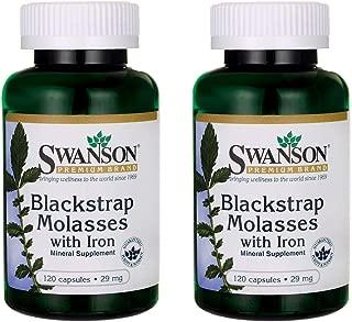 Swanson Blackstrap Molasses Elemental Iron (Ferrous Fumarate) 29 mg 120 Capsules (2 Pack)
