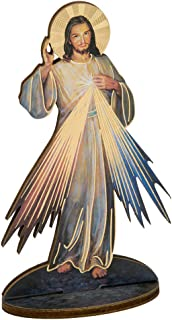 Wood Divine Mercy of Jesus Christ Statue with 3 o'Clock Prayer Card, 6 Inch