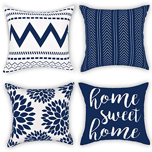 Gusgopo Throw Pillow Covers 18 x 18 Set of 4, Geometry Outdoor Square Pillow Cushion Cases, Modern Decorative Pillow Covers for Couch Sofa Bedroom Car, Blue
