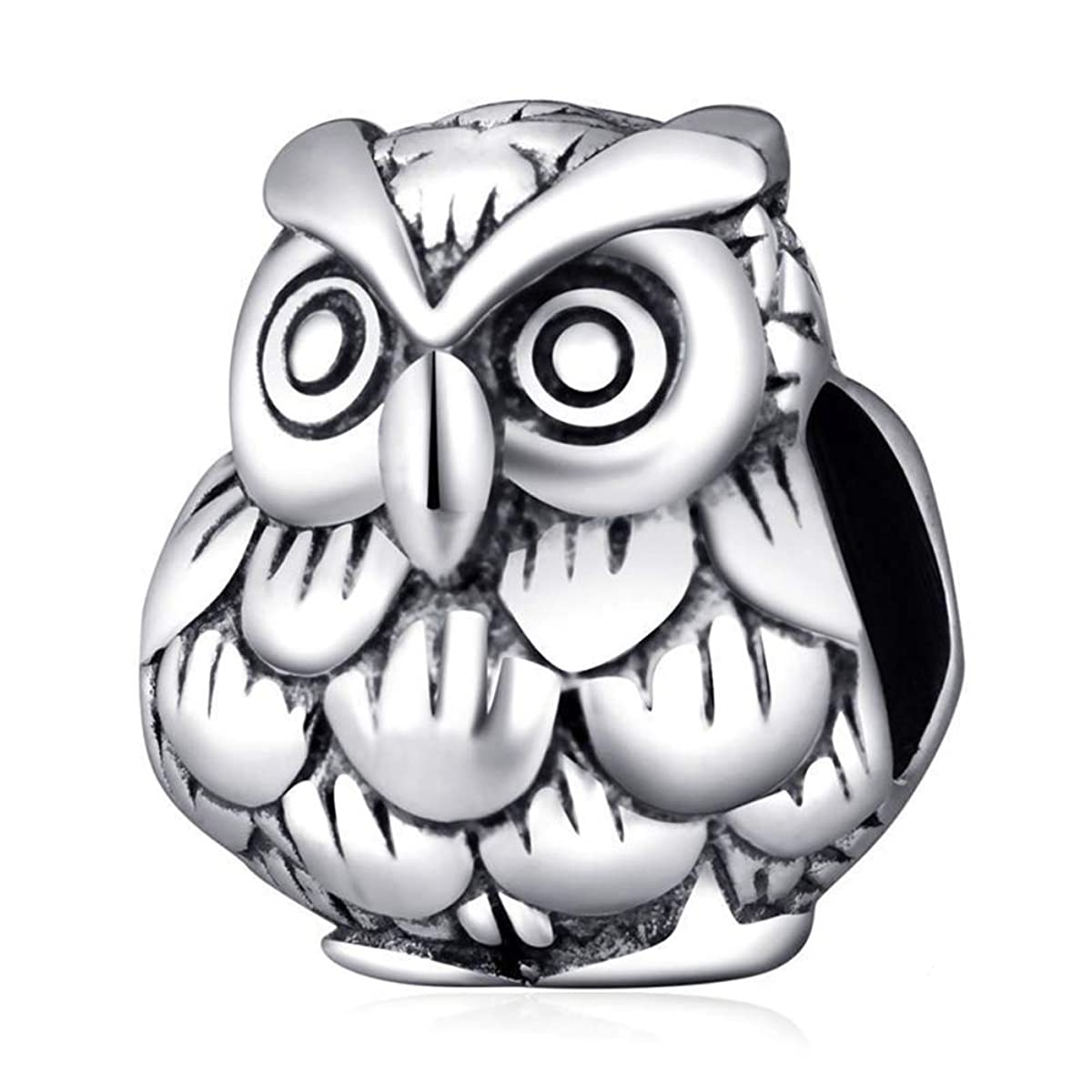 Owl Charm Authentic 925 Sterling Silver Animal Charm Bird Beads fits Bracelet