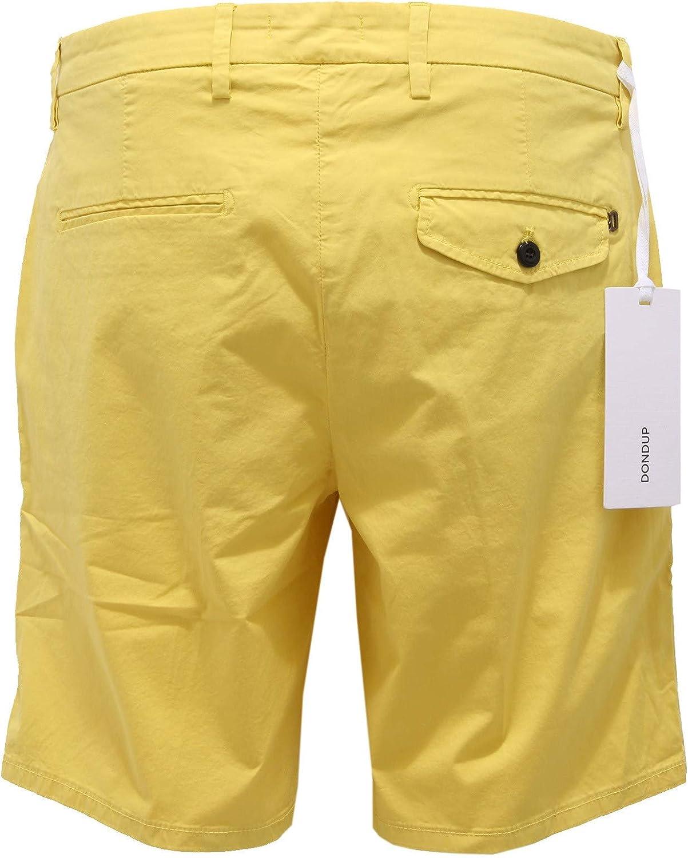 DONDUP 2759Z Bermuda Uomo Slide Button Yellow Cotton Shorts Man Giallo
